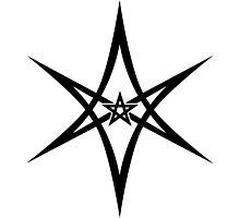 Unicursal Hexagram, Pentagram, Star Photographic Print