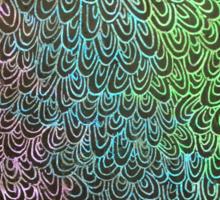 Geometric Peacock Oil Pastel Etching Sticker