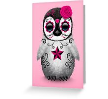 Pink Day of the Dead Sugar Skull Penguin  Greeting Card