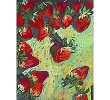 Strawberries on a table Photographic Print
