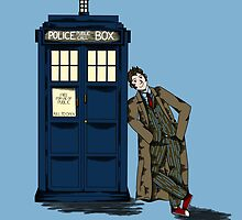 Tenth doctor and the TARDIS by SpecsomeEmilie
