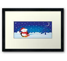 cute little xmas penguin Framed Print
