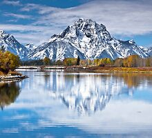 Mount Moran in Oxbow Bend  by Jim Stiles