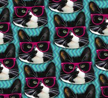 Hipster Glasses Kitty Pattern  by mytshirtfort