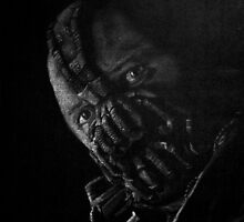 Black and White version of Tom Hardy as Bane by Will Dudley