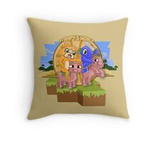 Mister Stampy Cat and Ballistic Squid riding piggies Throw Pillow
