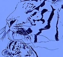 Mother Tiger and Cub - Blue by sjdp92