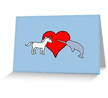 Unicorn Loves Narwhal Greeting Card