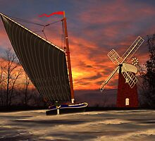 Norfolk Wherry and Windmill by Dennis Melling
