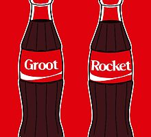 Groot and Rocket - Coke friends by SquareDog