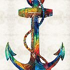 Nautical Anchor Art - Anchors Aweigh - By Sharon Cummings  by Sharon Cummings