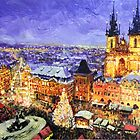 Prague Old Town Square Christmas market by Yuriy Shevchuk