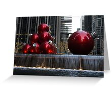 A Christmas Card from New York City - Manhattan Skyline Reflecting in Giant Red Balls Greeting Card