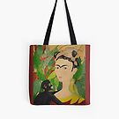 Frida with Monkey and Bird Tote by Shulie1