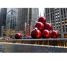 A Christmas Card from New York City – Radio City Music Hall and the Giant Red Balls Photographic Print