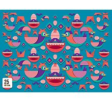 Cute colorful bird pattern vector Photographic Print