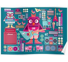 Cute colorful cartoon band Poster
