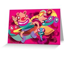 Cute clown colorful monster Greeting Card