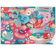 vector colorful random monster face pattern Poster