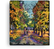 Autumn landscape with people om a park's path Canvas Print