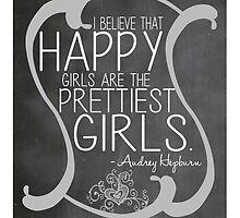Audrey Hepburn Happiest Girls Typography by geekchicprints