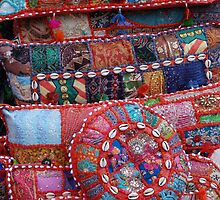 Colouful pillows in the Textile Souk, Dubai. by NGW01