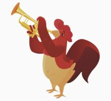 Funny cartoon rooster playing trumpet Kids Clothes