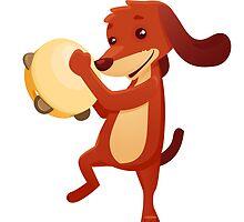 Cute happy cartoon dog playing tambourine by berlinrob