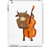 Funny ox playing music with cello iPad Case/Skin