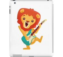 Cartoon lion playing music with electric guitar iPad Case/Skin