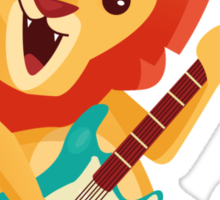 Cartoon lion playing music with electric guitar Sticker