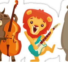 Four funny animals playing in a band Sticker
