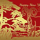 Chinese New Year Greeting Card Year Of The Ram / Goat by Moonlake