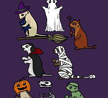 Trick or Treat Ferrets by OctoberiaArt