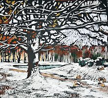 Winter landscape with oak trees in a park by kira-culufin