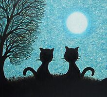 Two Cats Silhouettes with Tree Moon and stars by Claudine Peronne