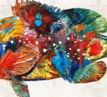 Colorful Grouper Art Fish by Sharon Cummings Sticker