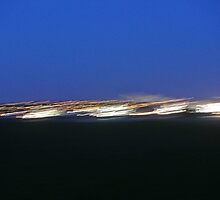 Fast lights over the River Mersey at Hale Bank  by Debra Kurs