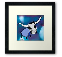 MOODI - blue cow 002, by m a longbottom - PLATFORM58 Framed Print