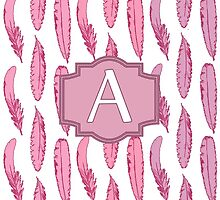 Pink Feathers Monogrammed Letter A by Greenbaby