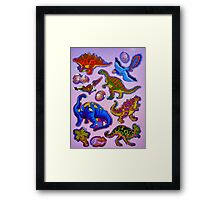 Several colorful dinosaurs Framed Print