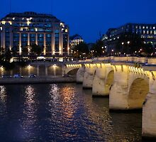 Paris Blue Hour - Pont Neuf Bridge and La Samaritaine by Georgia Mizuleva