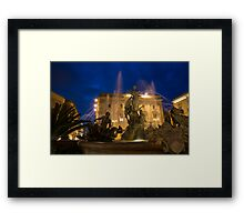 Syracuse, Sicily Blue Hour - Fountain of Diana on Piazza Archimede Framed Print