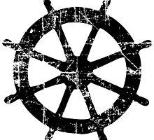 Steering Wheel Vintage Sailing Design (Black) by theshirtshops