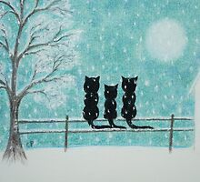 Cats Family in Snow: Three Cats Silhouettes with Tree and Snow by Claudine Peronne