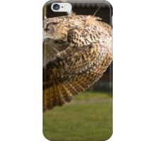 Flying owl at full stretch looking into the camera iPhone Case/Skin