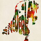 The Netherlands Typographic Watercolor Map by A. TW