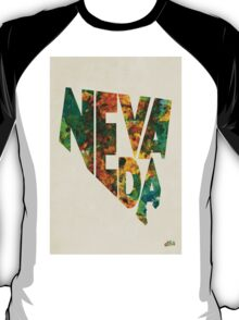 Nevada Typographic Watercolor Map T-Shirt