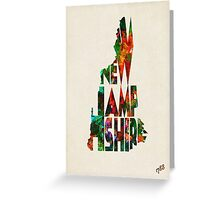 New Hampshire Typographic Watercolor Map Greeting Card