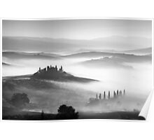 Early morning mist, Val D'Orcia, Tuscany, Italy. Poster